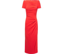 Woman Ruched Crepe Midi Dress Tomato Red