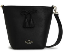 Bow-embellished Pebbled-leather Shoulder Bag Black Size --