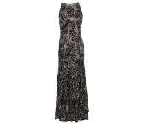 Embellished Metallic Embroidered Tulle Gown Black