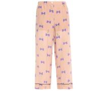 Woman Printed Silk Crepe De Chine Wide-leg Pants Blush