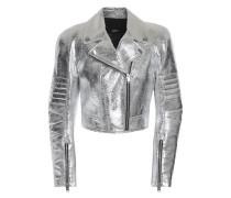 Metallic cracked-leather biker jacket