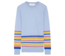 Striped Wool, Silk And Cashmere-blend Sweater Light Blue