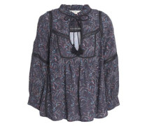 Ruffled Printed Crepe Blouse Charcoal Size 0