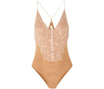 Corded Lace-paneled Stretch-mesh Bodysuit Neutral