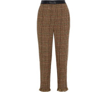 Woman Cropped Leather-trimmed Wool-blend Tweed Straight-leg Pants Camel
