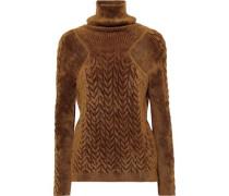 Smocked Chenille Turtleneck Sweater Mustard