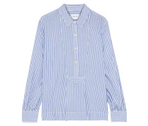 Woman The Emmy Pleated Striped Woven Blouse Light Blue