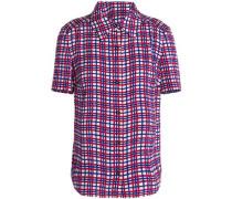 Printed silk-blend crepe de chine shirt