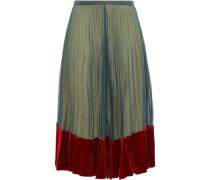 Velvet-trimmed Silk Crepe De Chine Midi Dress Teal