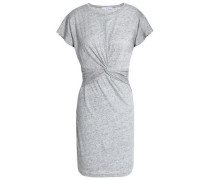 Twist-front Cotton And Modal-blend Jersey Mini Dress Light Gray