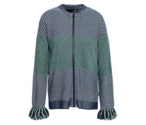 Fringe-trimmed Striped Knitted Cardigan Navy