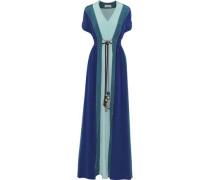 Tasseled Color-block Silk Crepe De Chine Maxi Dress Teal