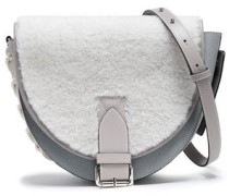 Bike Lace-up Shearling-paneled Smooth And Textured-leather Shoulder Bag Light Gray Size --