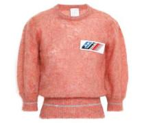 Appliquéd Metallic-trimmed Mohair Wool-blend Sweater Antique Rose