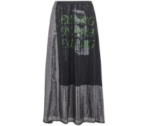 Lace-trimmed Metallic Printed Silk-blend Maxi Skirt Black