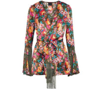 Fringe-trimmed printed silk wrap jacket