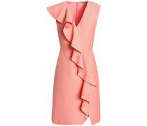 Ruffled wool and silk-blend crepe mini dress