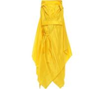 Asymmetric Draped Silk-taffeta Hooded Coat Yellow