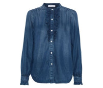 Ruffle-trimmed Tencel-chambray Shirt Mid Denim