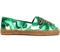 Embellished Printed Satin Espadrilles Green