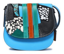 Embellished patchwork leather and suede shoulder bag