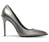 Studded Metallic Leather Pumps Silver
