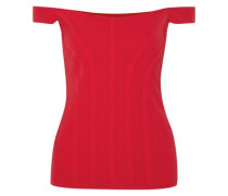 Woman Yandex Off-the-shoulder Stretch-cady Bustier Top Red