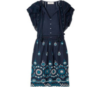 Sofie Pintucked Broderie Anglaise Cotton Mini Dress Navy Size 0