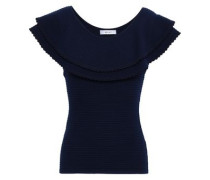 Layered Ribbed-knit Top Navy