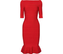 Woman Off-the-shoulder Fluted Bandage Dress Red