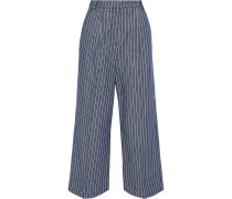 Woman Claret Cropped Pinstriped Twill Wide-leg Pants Storm Blue