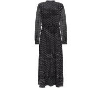 Woman Alannah Printed Crepon-paneled Printed Silk Crepe De Chine Midi Dress Black