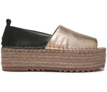 Smooth and metallic textured-leather platform espadrilles