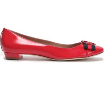 Embellished patent-leather ballet flats