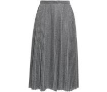 Pleated Metallic Jersey Midi Skirt Silver