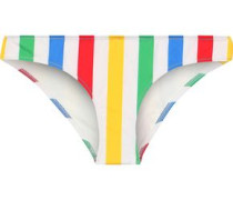 The Elle Striped Low-rise Bikini Briefs Ivory