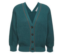 Woman Bead-embellished Ribbed Cotton Cardigan Teal