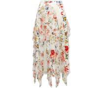 Yula Ruffled Floral-print Silk-chiffon Midi Skirt White Size 0