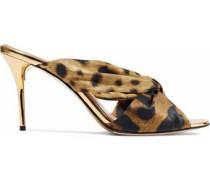 Glenn knotted leopard-print satin mules