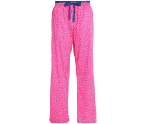 Printed cotton-poplin pajama pants