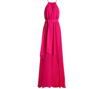 Belted crepe gown