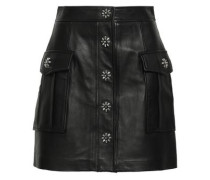 Studded Textured-leather Mini Skirt Black