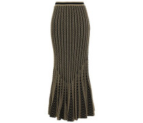 Fluted Metallic Stretch-knit Maxi Skirt Gold