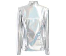 Iridescent Stretch-satin Turtleneck Top Silver