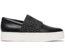 Ribbed-knit Trimmed Leather Slip-on Sneakers Black
