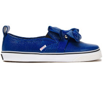 Woman Embellished Ruffled Lizard-effect Leather Sneakers Royal Blue