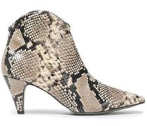 Pamela Snake-effect Leather Ankle Boots Animal Print