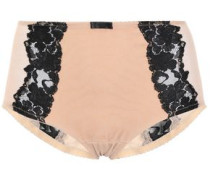 Lace-trimmed Stretch-tulle High-rise Briefs Beige