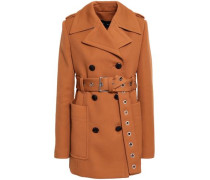 Double-breasted Twill Coat Camel