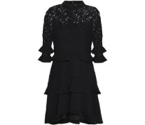 Tiered lace and cotton-crepe mini dress